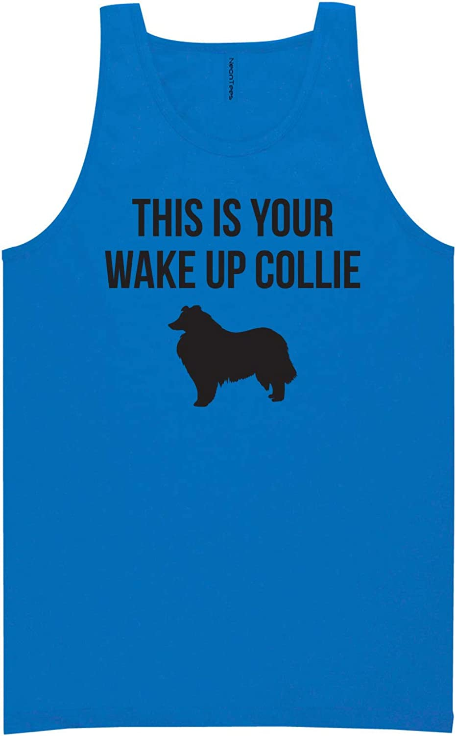 zerogravitee This is Your Wake Up Collie Neon Blue Tank Top - XX-Large