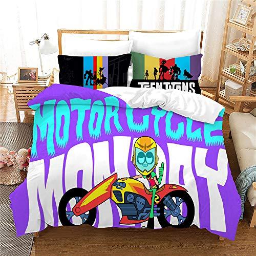 Probuk Juego de cama Teen Titans Dc Comics 100 % microfibra Anime Ropa de cama infantil Niños Chicas Teen TitansBettbezug con funda de almohada (A-05,220 x 260 cm (50 x 75 cm)