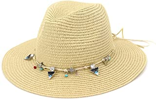 Hats Sun Protection Visor Ladies Straw Hat Outdoor Beach Hat Fashion (Color : Beige)