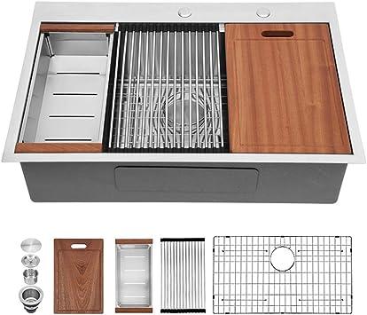 Drop Stainless Kitchen Sink Sarlai 33 Inch Kitchen Sink Workstation Sink Drop In Topmount 16 Gauge Stainless Steel Round Corner Single Bowl Kitchen Sink Basin Amazon Com