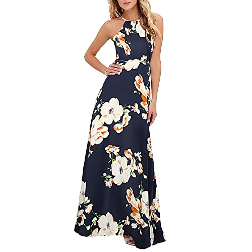 a18d478334a Romacci Women s Sleeveless Halter Neck Maxi Dress Vintage Floral Print  Backless Beach Long Dresses S-