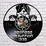 wtnhz LED-Reloj de Pared de Vinilo con diseño de Perro de montaña Grande de Berna, Modelo Mural, Bonito Regalo, Reloj de Pared
