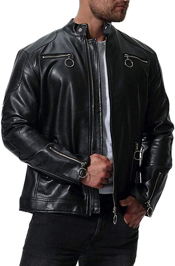 KASAAS Men's Leather Jackets Plus Size M-5XL, Black Zip Up Stand Collar Long Sleeve Outdoor Casual Slim Coats Tops