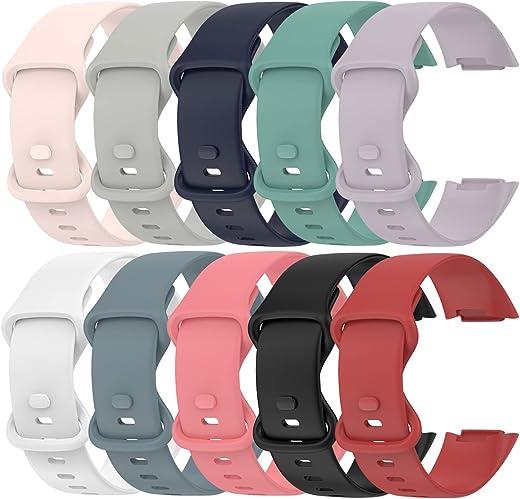 (10-pack) Chofit bandjes compatibel met Fitbit Charge 5 riem, vervangende zachte siliconen sportbanden polsband kleurrijke armband voor Charge 5 Activity Tracker