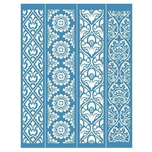 PHILSP MYhose Plantilla de Pantalla Vintage Encaje Autoadhesivo Serigrafía Plantilla de serigrafía Transferencias de Malla Camisa de Bricolaje Azul
