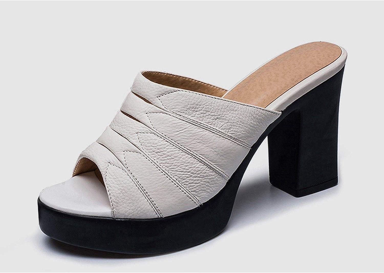 Summer-lavender Elegant Black Mules Women Genuine Cow Leather Mature Pleated Platform Pumps shoes Woman Slippers