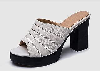 Elegant Black Mules Women Genuine Cow Leather Mature Pleated Platform Pumps Shoes Woman Slippers