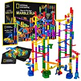 NATIONAL GEOGRAPHIC Glowing Marble Run – 250 Piece Construction Set with 50 Glow In The Dark Glass Marbles, Mesh Storage Bag, Great Creative Stem Toy For Girls & Boys