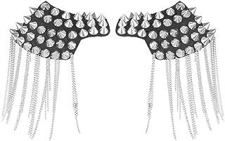 Shoulder Epaulets Tassel Chain Metal Epaulettes Beads Punk Fringe Epault Shoulder Boards Badge - 1 Pair (Silver)