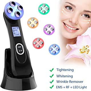 Face Tightening Machine,5 in 1 EMS R-F Multifunctional Skin Lifting Massager for Wrinkle Remove Anti Aging Device With Colorful Lights Skin Care Beauty Machine