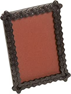 Ten Thousand Villages Recycled Bicycle Chains and Glass Picture Frame for 4x6 Photo 'Bicycle Chain Picture Frame'