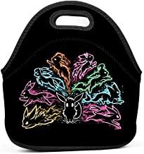 NJLLOS Pock-et-Eevee Neoprene Lunch Tote Thick Insulated Lunch Bag Portable Thermal Lunchbox Waterproof Outdoor Picnic Travel Handbag with Zipper for Men Women Kids Boys Girls