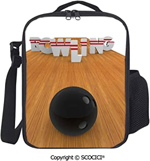UHOO Bowling Alley with Skittles and Ball in Position Printed Premium Insulated Lunch Box School Lunch Bag for Kids, Boys, Girls
