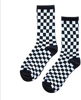 UKKD, Calcetín3 Pares De Calcetines Cuadrados Blancos Negros Y Tendencias Estadounidenses De Moda E Invierno Estilo De Algodón Calcetines Individuales