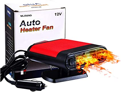 Portable car Heater, can Quickly Heat The Windshield, defrost and Fog,The Ceramic Insert Type Cigarette Lighter for Automobile 2 and 1 hot Cooling Fan: image
