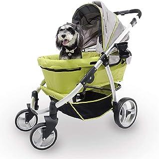 Dubbel sällskapsvagn för medelstora hundar Liten hund, katt, flera sällskapsdjur barnvagn med 4-vägs hopfällbar baldakin, ...