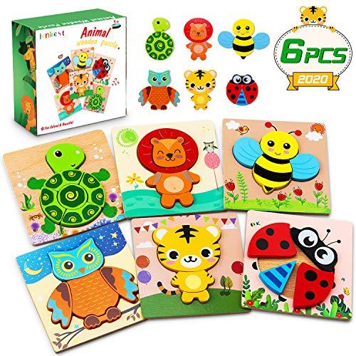 lenbest 6 Pcs Kinder Holzpuzzle, Lebendiger Hintergrund Steckpuzzle Holz Montessori Spielzeug, 3D Ungiftig Tier Puzzle Lernspielzeug Weihnachten Geburtstag Geschenk für Baby ab 1 2 3 Jahren