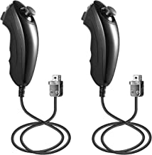 Suily 2 Pack Wii Nunchuck Controller Replacement for Wii/Wii U Video Games (Black)