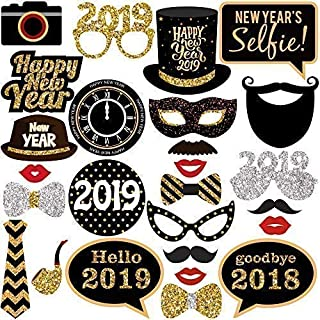 New Years Photo Booth Props– Pack of 27, Real Glitter | 2019 New Years Eve Photobooth Props Decorations | Great for New Years eve Party Supplies 2019 | New Years Decorations for 10 50, DIY Required