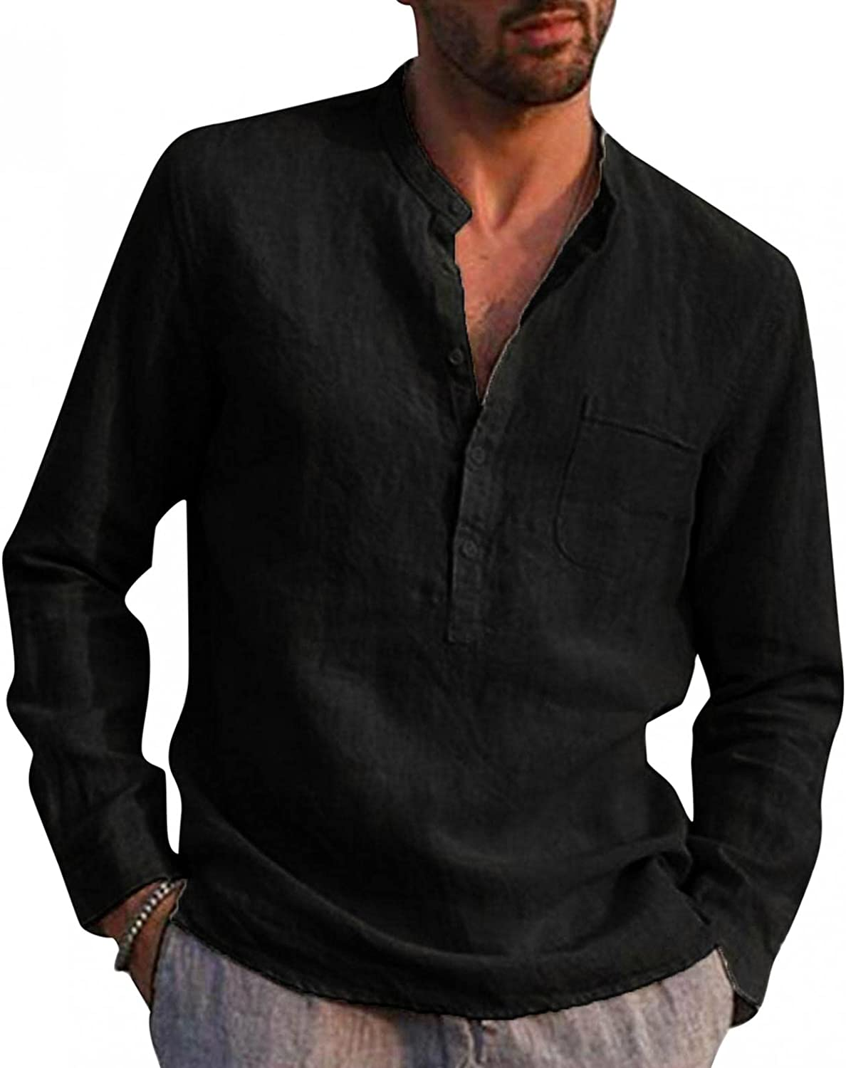 KEEYO Mens Cotton Linen Henley Shirts Long Sleeve Hippie Casual Beach Solid Color Yoga T-Shirts Stand Collar Plain Tee Tops