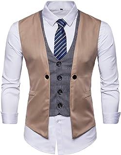 MU2M Men Stylish Layering Suit Vest Business Waistcoat Skinny Vests