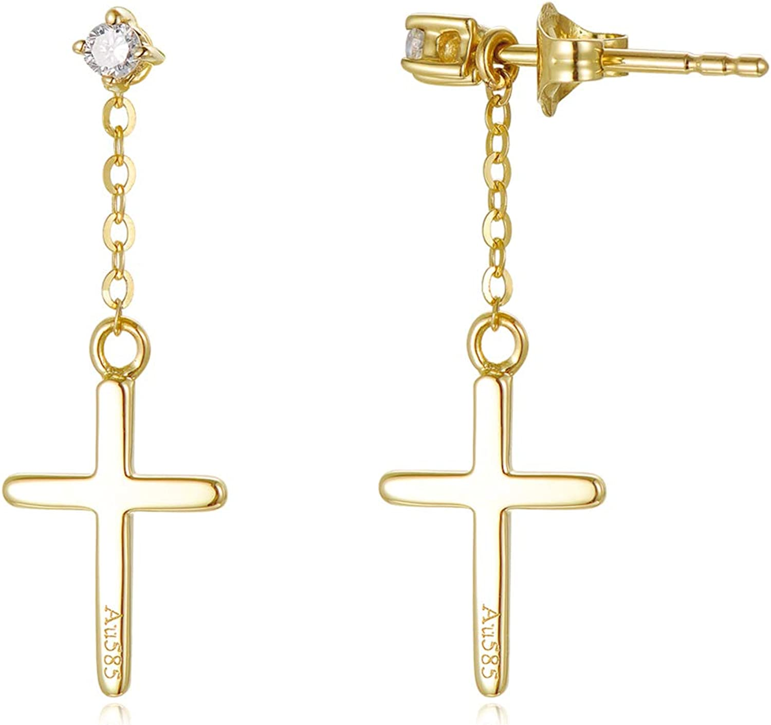 14k Gold Synthetic Moissanite Cross Earrings for Women, Solid Gold Stud Drop Earring Religious Jewelry Gifts for Her