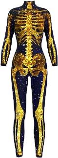 Honeystore Women's Skeleton or Xmas Catsuit Costume 3D Stretch Skinny Bodysuit