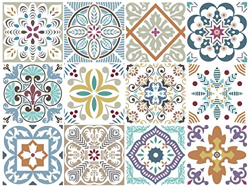 Blumen Decorative Tile Stickers Set 12 Units 6x6 inches. Peel & Stick Vinyl Adhesive Tiles. Backsplash. Staircase. Home Decor. Furniture Decor. Easy to Install DIY.