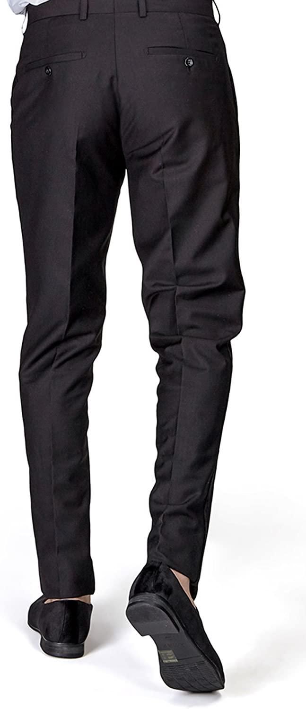 Slim Fit Tuxedo Pants Flat Front No Pleats Black Side Line AZAR
