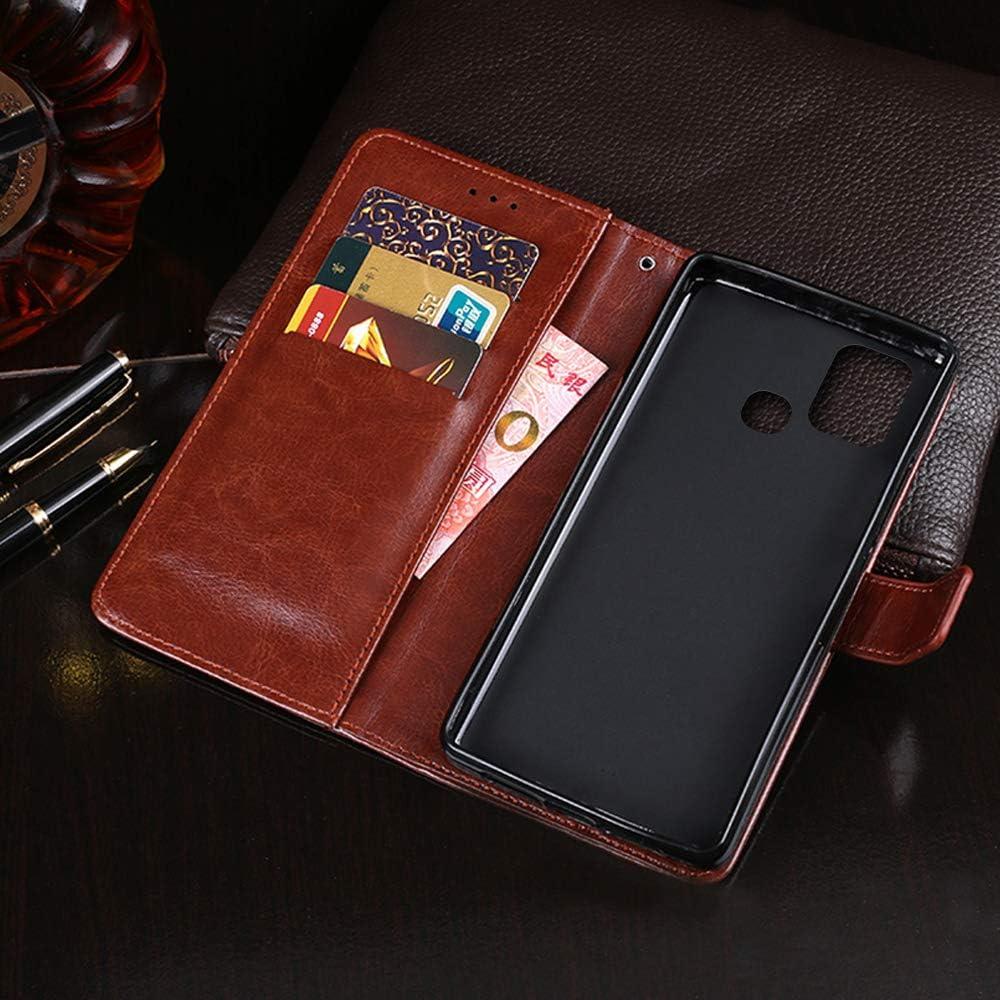 coque Hot 10 Lite /Étui portefeuille /à rabat en cuir avec porte-cartes pour Infinix Hot 10 Lite Jaune