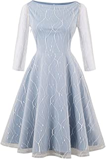 Women's Vintage 3/4 Length Sleeve Lace A-line Swing Cocktail Party Dress