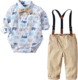 Fairy Baby Toddler Boys 2Pcs Gentleman Outfit Clothes Elephant Bodysuit+Suspender Pant Set