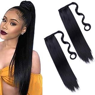 2 Stuks 24 Inch Lange Zwarte Rechte Paardenstaart Houder Haarverlenging Wrap Around Paardenstaart Extensions Synthetische ...