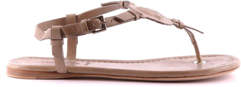Moncler Women's MCBI21125 Beige Leather Sandals