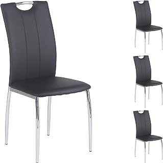 IDIMEX Lot de 4 chaises de Salle à Manger Apollo piètement chromé revêtement synthétique Noir