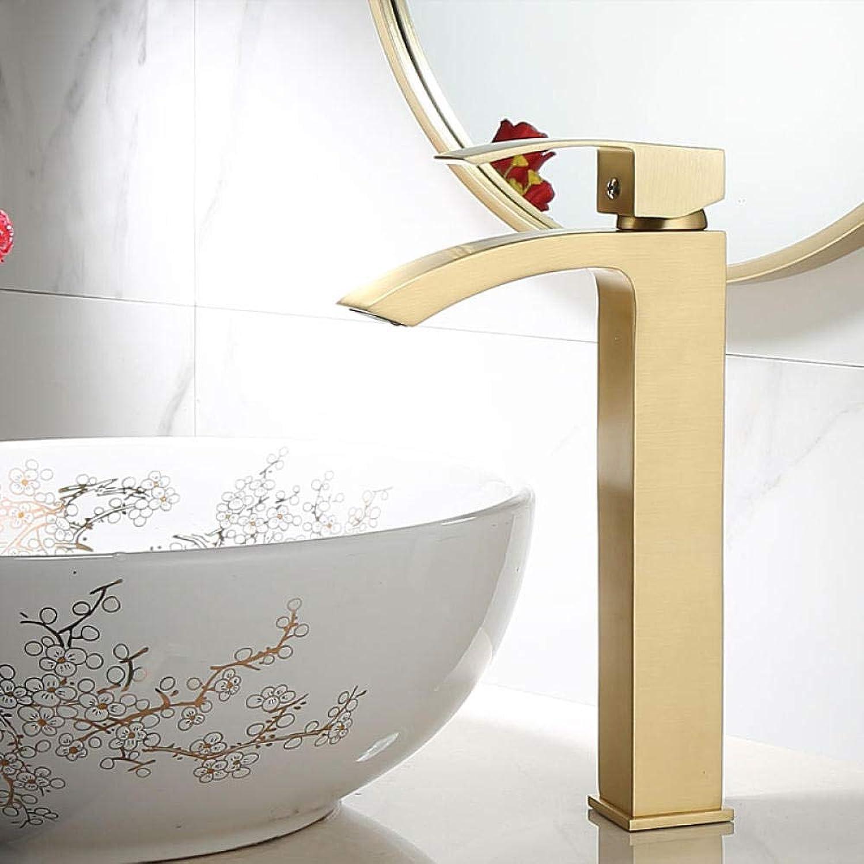 CZOOR Nordic gebürstetem Gold minimalistischen Licht Luxus Kupfer heien und kalten Waschbecken Wasserfall einfachen Becken Wasserhahn A411