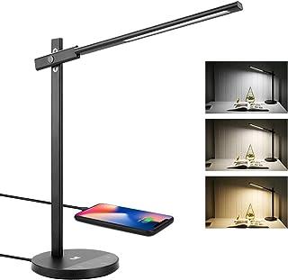 LE Lámpara Escritorio LED, luz mesita de noche, 10W 3 Modos, Intensidad Regulable, Sensor de movimiento, Puerto USB 5V 2A, Temporizador
