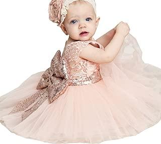 Newborn Toddler Baby Girls Sequins Bowknot Floral Princess Dresses