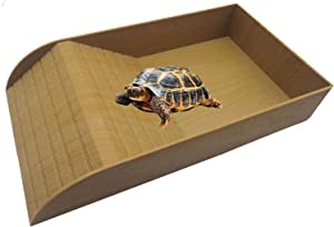 Hamiledyi Turtle Feeding Dish,Reptile Food and Water Bowl Lizards Basking Platform with Ramp and Resting Platform Also Fit for Bath Reptile and Amphibian