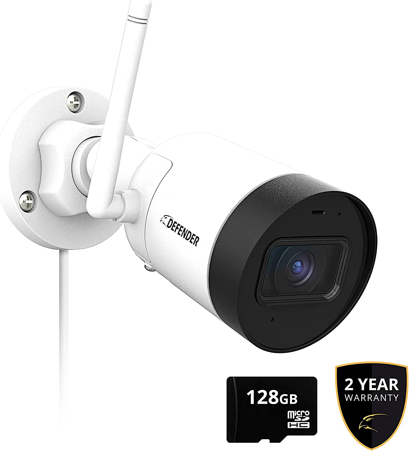 Defender Guard HD Wi-Fi Security Camera - Indoor and Outdoor Wireless IP WiFi Camera 2k (4MP) Resolution with Audio Recording - No Monthly Fees, SD Card Recording - (1 Camera +Amazon Exclusive Offer)