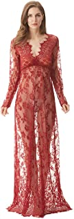 Women Floor Length Deep-V See Through Floral Lace Gown Maxi Maternity Dress for Photo Shoot