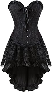 Kranchungel Women's Halloween Party Masquerade Gothic Brocade Lace Gothic Corset Skirt Set