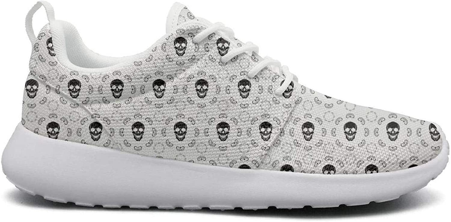 Wuixkas Graphic Skull Print Womens Lightweight Mesh Sneakers Funny Boat shoes