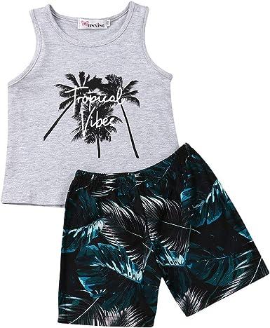 Ropa Conjuntos para Niño 2 Piezas Estilo Tropical 1 Camiseta sin Mangas con Dibujo + 1 Pantalones Cortos Estampado Palmas Verano Playa y Regalo para ...