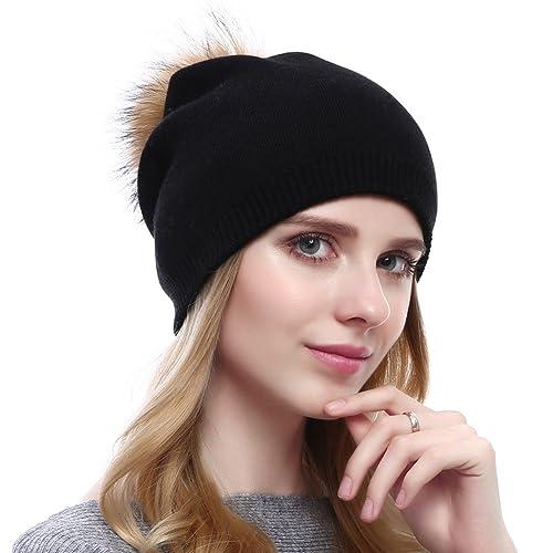 Women Knit Wool Beanie - Winter Solid Cashmere Ski Hats Real Raccoon Fur  Pom Pom 7e716801eaa6