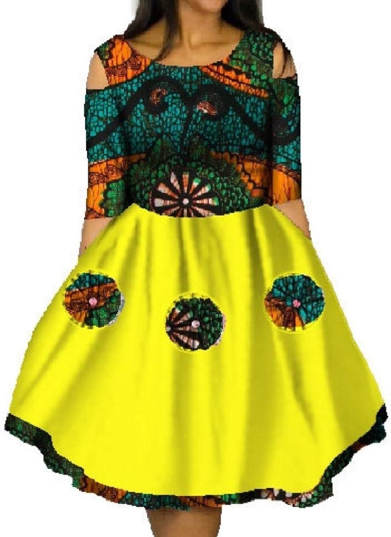 Winme Women Dashiki African Print Mini Plus Size Batik Swing Party Dress