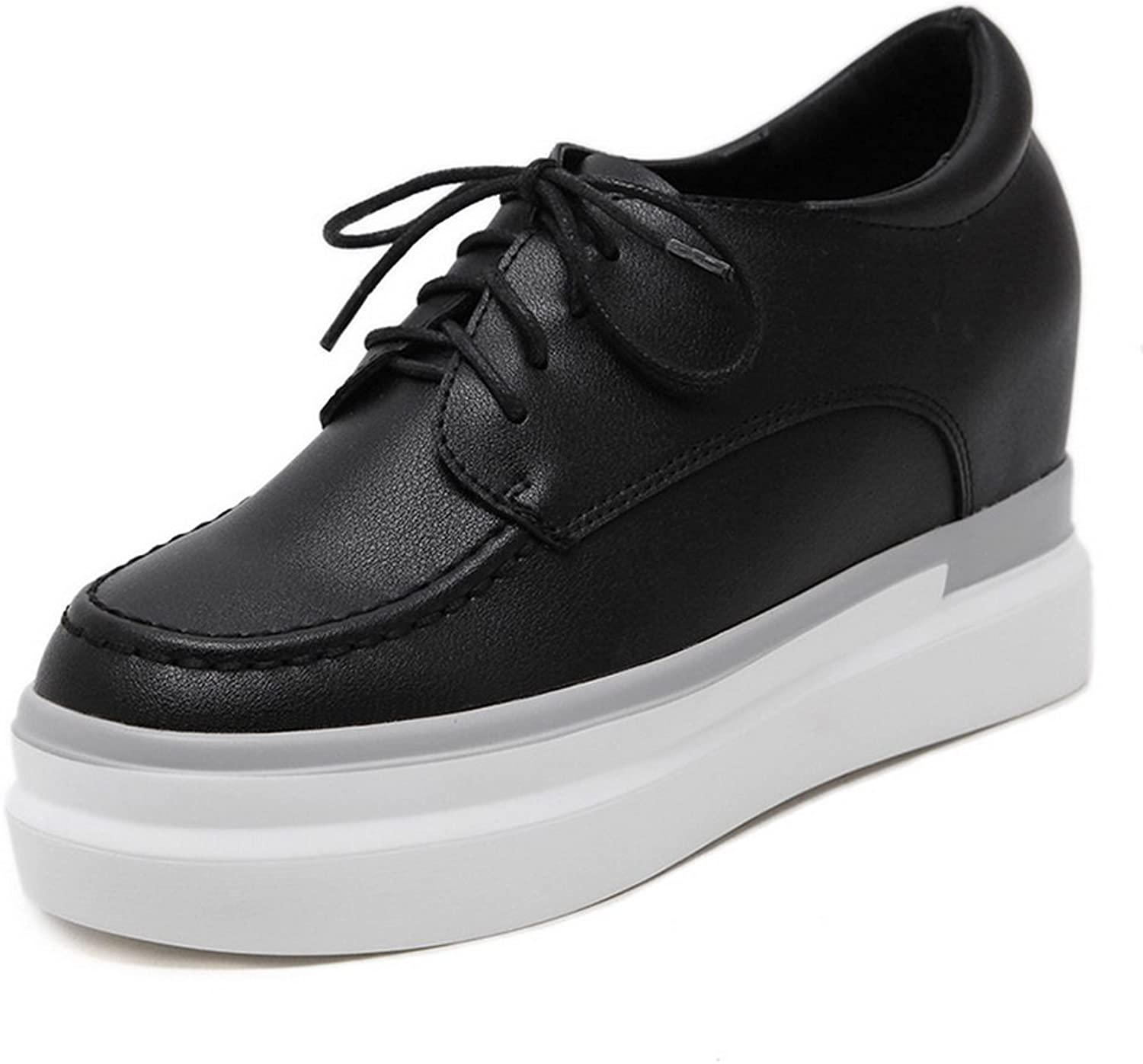 1TO9 Womens Lace-Up Platform Heighten Inside Black Urethane Oxfords shoes - 5 B(M) US