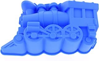 Elbee EB-714 Home 714 Premium Silicone Locomotive Train Shape Baking and Ice Cream Mold Easy Release, Blue