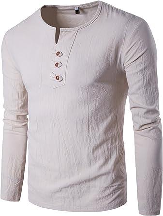 Ropa De Hombre Algodon Casual Camisetas Manga Larga 3 Botones ...