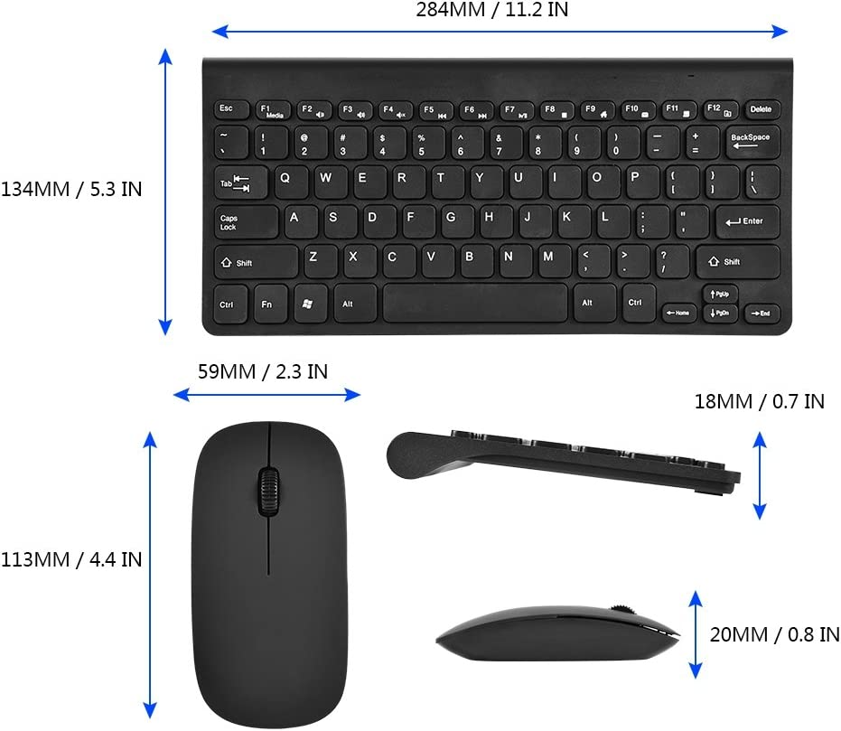 Keyboard Mouse Black Ultra-Thin USB Wired Keyboard Optical Mouse Mice Set Combo for PC Laptop